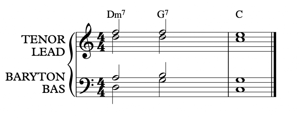 Sheetmusic showing II-V-I in C major