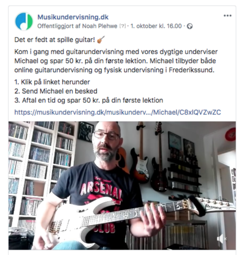 example of Facebook ad for music teachers